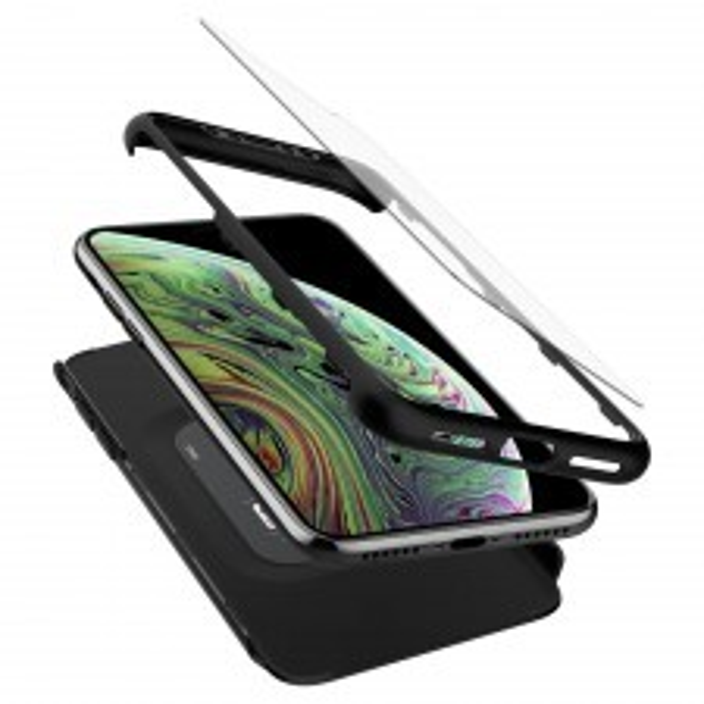 Чехол и защитное стекло SPIGEN для iPhone X / XS - Thin Fit 360 - Черный - 063CS24926