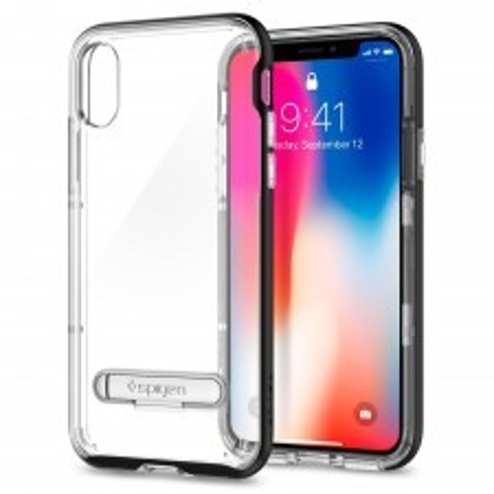 Чехол с подставкой SPIGEN для iPhone X / XS - Crystal Hybrid - Черный - SGP-057CS22147