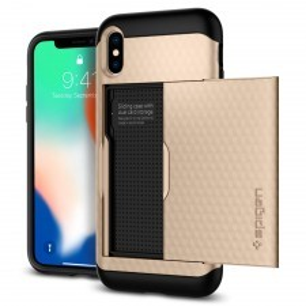 Чехол-визитница SPIGEN для iPhone X / XS - Crystal Wallet - Золотой - SGP-057CS22153