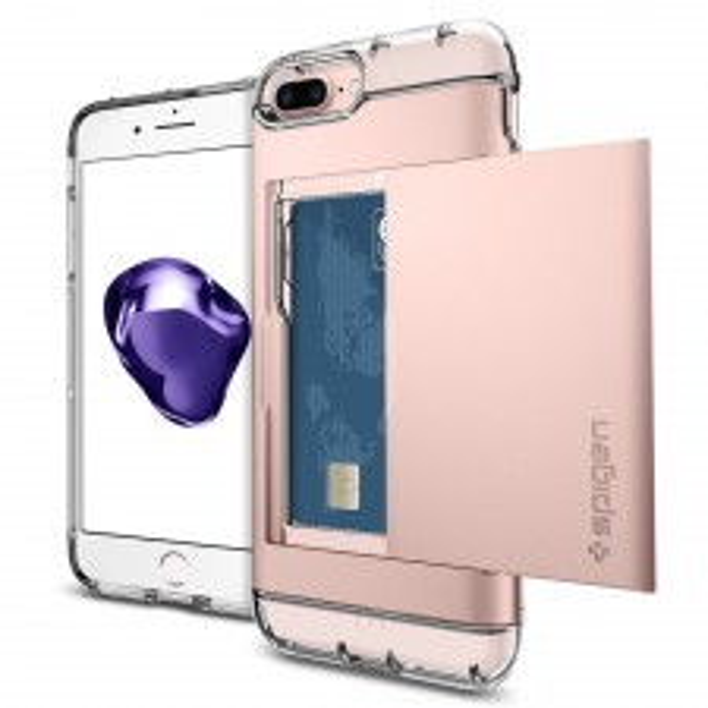 Чехол-визитница SPIGEN для iPhone 7 Plus / 8 Plus - Crystal Wallet - Розовое Золото - SGP-043CS20987