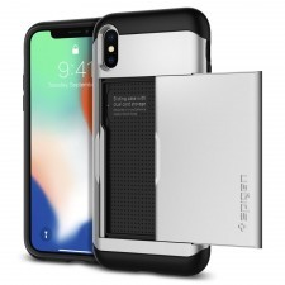 Чехол-визитница SPIGEN для iPhone X / XS - Slim Armor CS - Серебристый - SGP-057CS22158