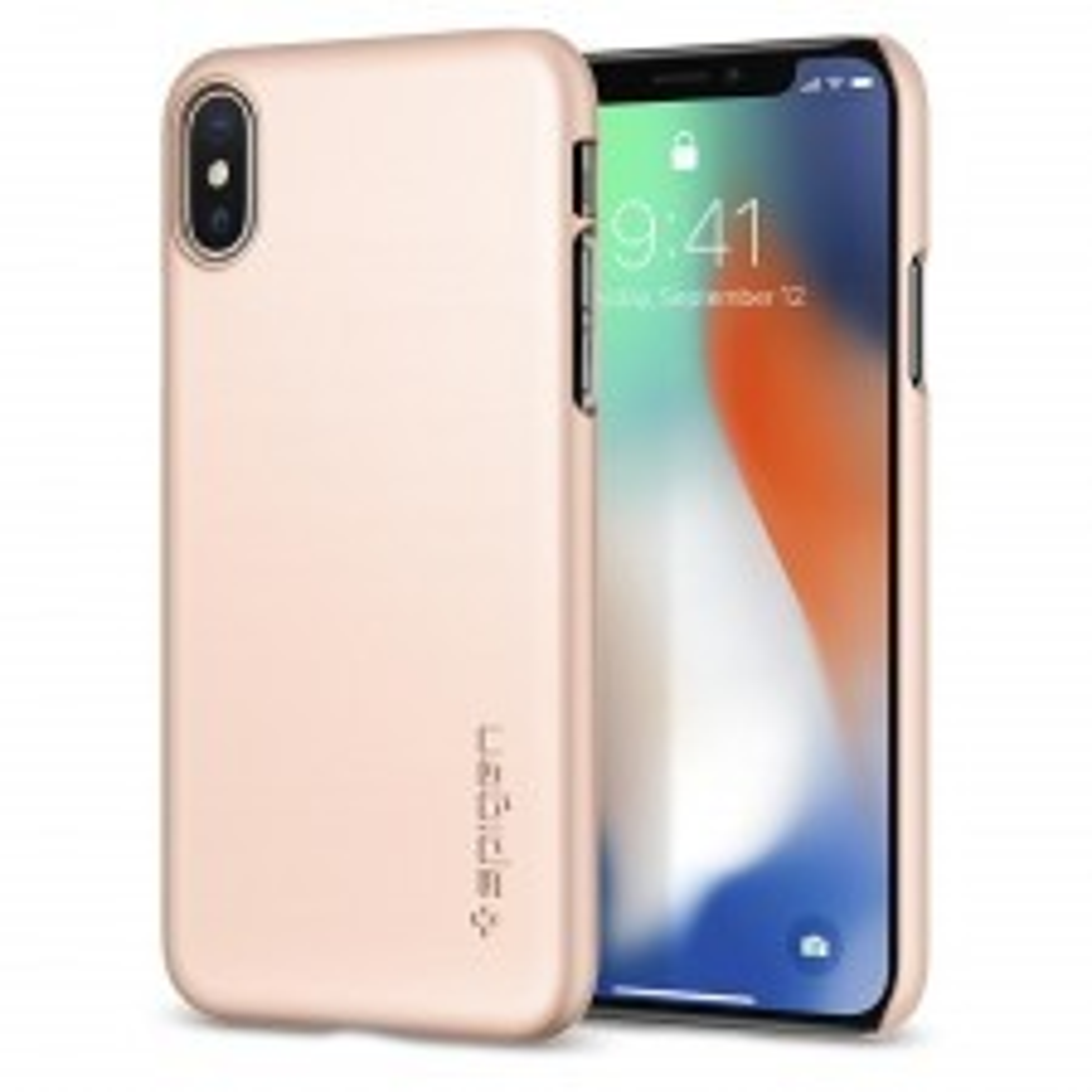 Клип-кейс SPIGEN для iPhone X / XS - Thin Fit - Красное золото - SGP-057CS22110