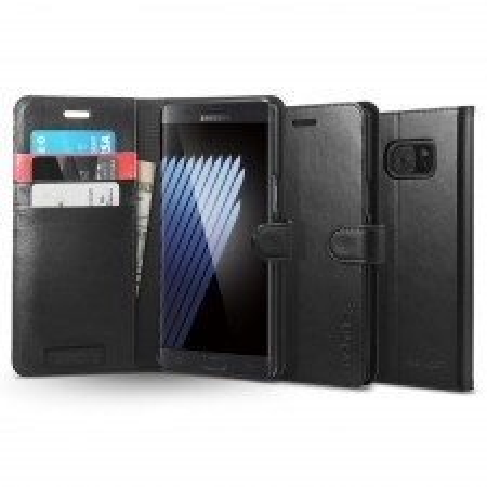 Кожаный чехол-книжка SPIGEN для Galaxy Note 7 - Wallet S - Черный - SGP-562CS20571