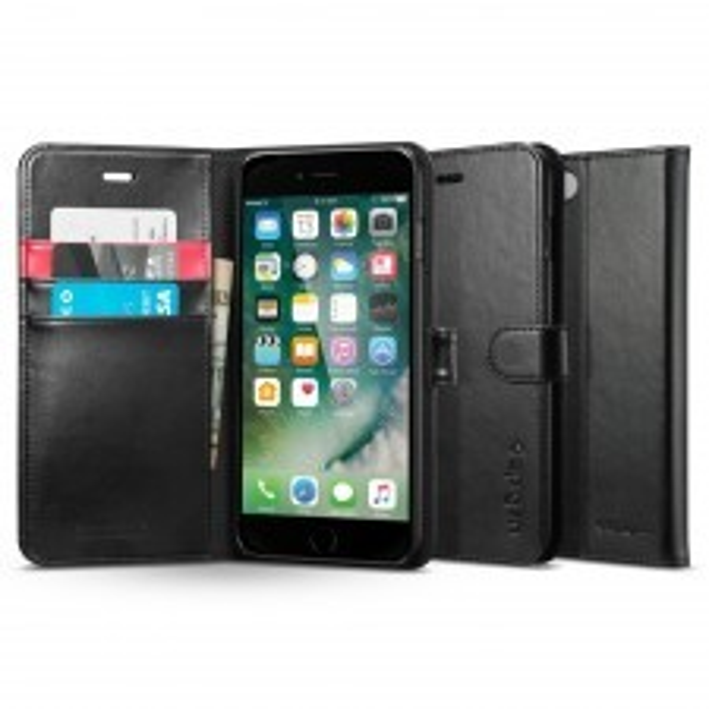 Кожаный чехол-книжка SPIGEN для iPhone SE (2020) / 7 / 8 - Wallet S - Черный - SGP-042CS20545