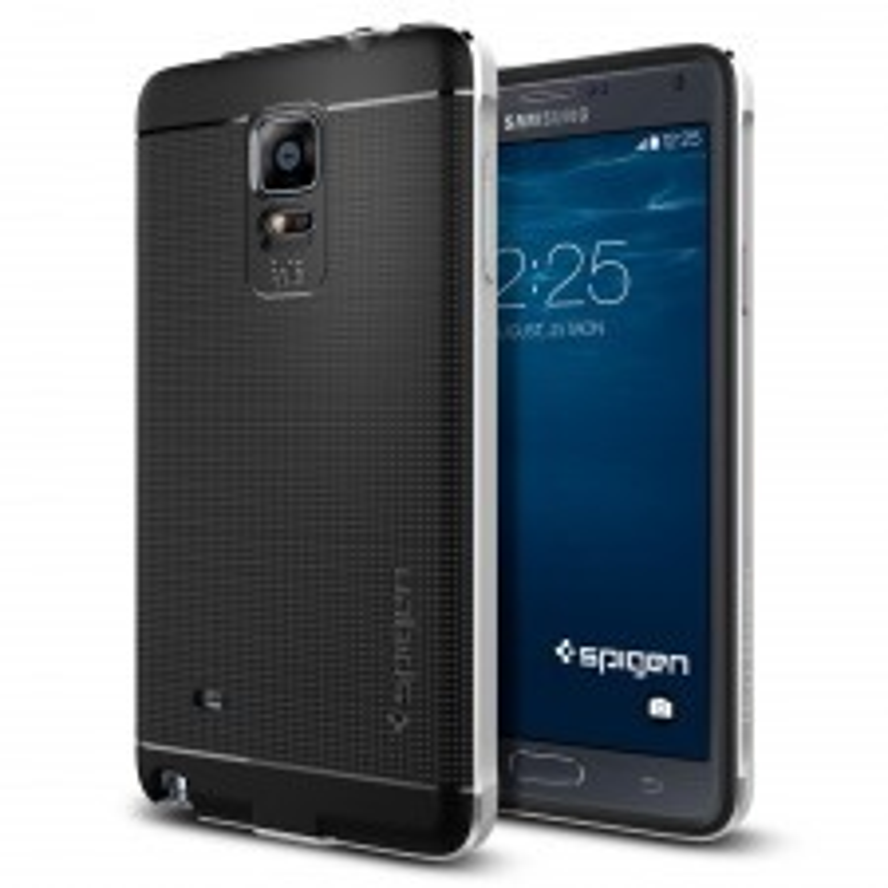Премиум чехол SPIGEN для Galaxy Note 4 - Neo Hybrid Metal - Серебристый - SGP11125