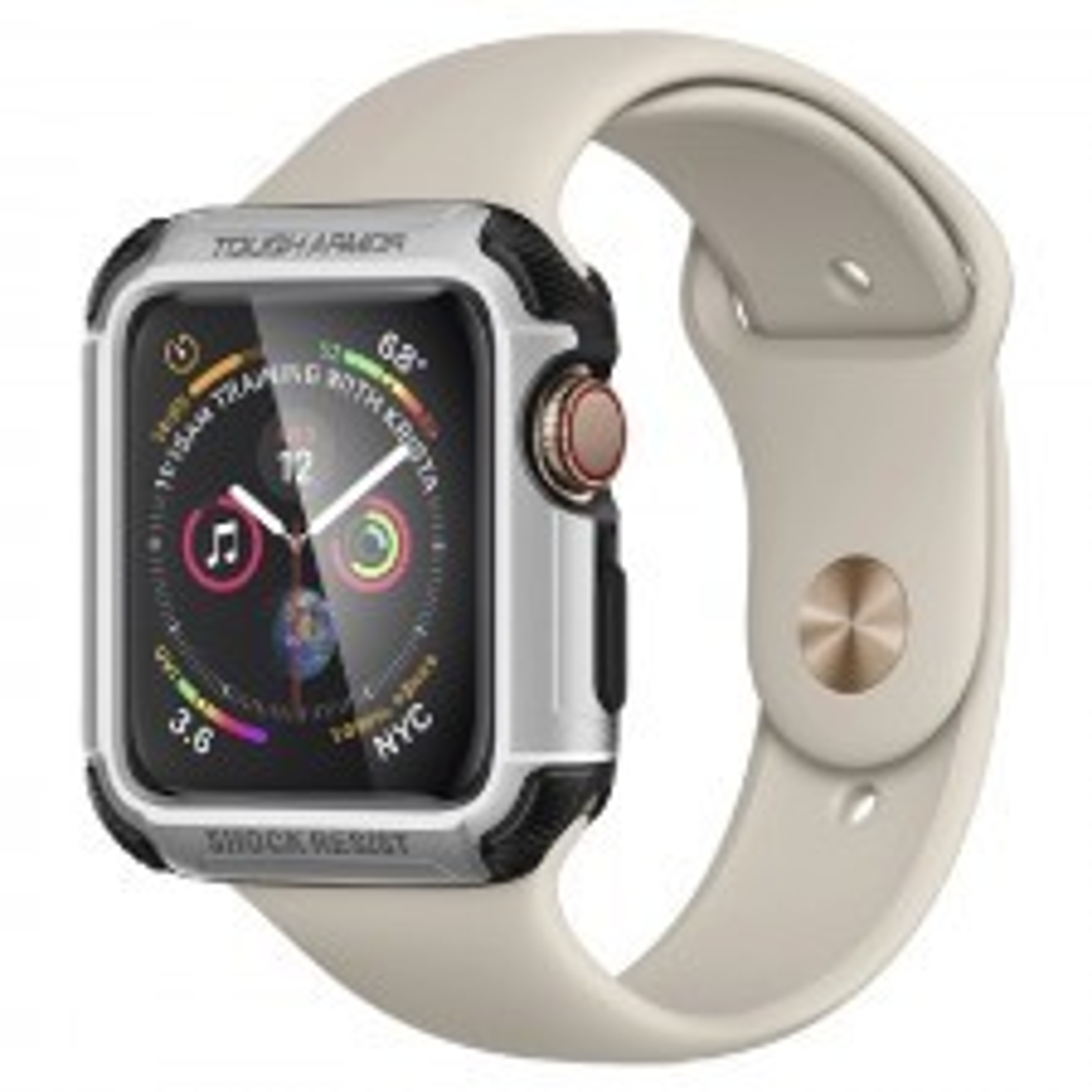 Ударопрочный чехол SPIGEN для Apple Watch 5 / 4 (44мм) - Tough Armor - Серебристый - 062CS24478