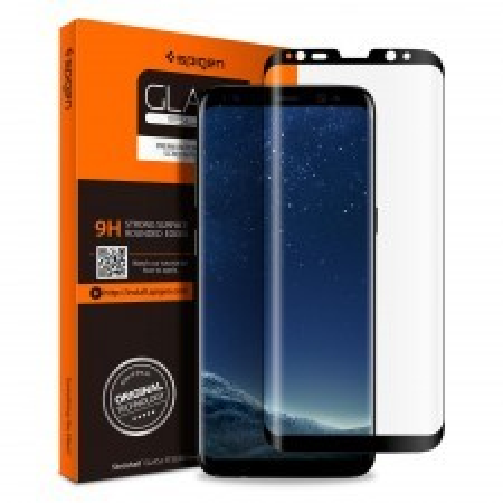 Защитное стекло SPIGEN для Galaxy S8 Plus - GLAS.tR Full Cover Glass - Черное - SGP-571GL21778