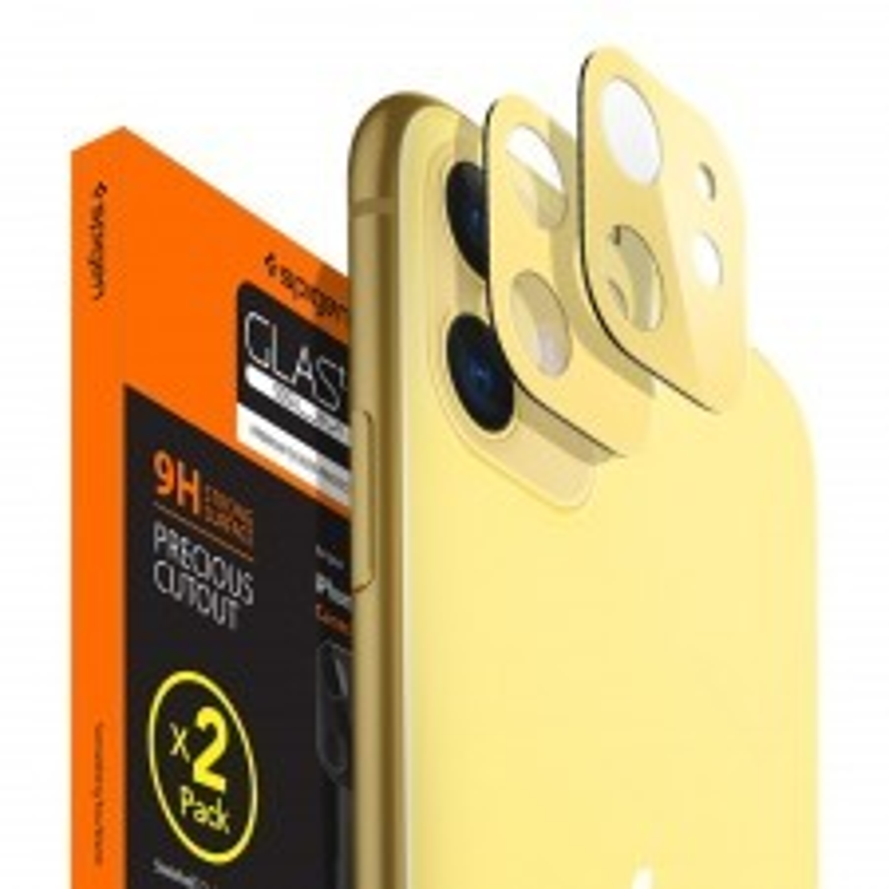 Защитное стекло SPIGEN для iPhone 11 - Full Cover Camera Lens - Желтый - AGL00509 - 2 шт