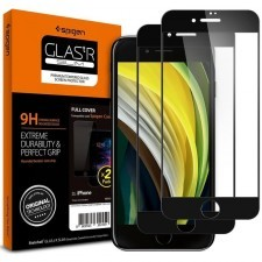 Защитное стекло SPIGEN для iPhone SE (2020) / 8 / 7 - Glas.tR SLIM Full Cover - Black - 2 шт - AGL01315