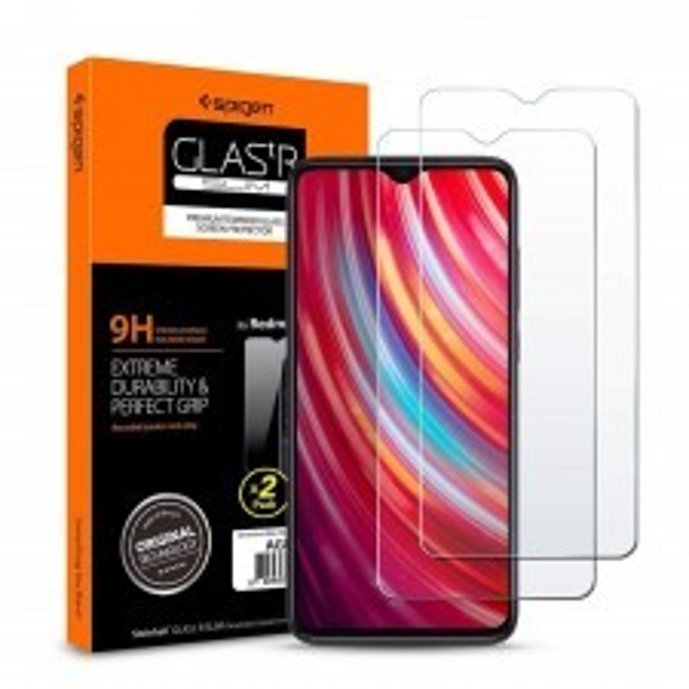 Защитное стекло SPIGEN для Xiaomi Redmi Note 8 Pro - Glas.tR SLIM - Кристально-прозрачный - AGL00390 - 2 шт