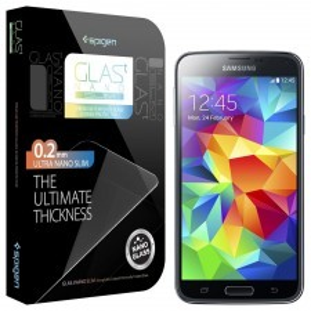 Защитное стекло SPIGEN для Samsung Galaxy S5 - GLAS.t NANO SLIM - SGP10726